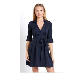 Arc & Co Wrap deep V-neck dress collar deep blue S